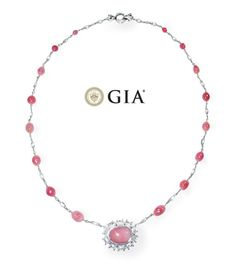 Pink Conch Pearl Diamond and Platinum Necklace