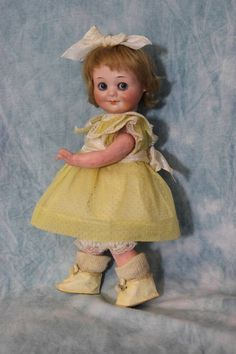 "12"" Antique Marseille 323 GOOGLY Doll c1914 Character Face Blue Glass from turnofthecenturyantiques on Ruby Lane"