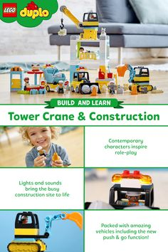 Perfect for toddlers who love to break stuff!   The LEGO DUPLO Tower Crane & Construction set is packed with action and imaginative play thanks to a Push & Go bulldozer, sounds, lights, and a working winch!  Build a tower, deliver supplies, and clear rubble off the street. And don't forget about lunch after a hard day of work!  Building, destroying, and rebuilding the set equips pre-schoolers with skills like resilience, cooperation, and creativity!  So hard hats on - it's construction time! Crane Construction, Hard Hats, Learning Through Play, Lego Building, Lego Duplo, Lego Brick, Imaginative Play, Toddlers, Have Fun