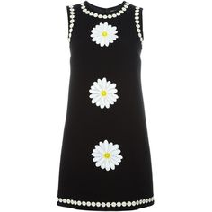Dolce & Gabbana daisy embroidered dress (28.955 CZK) ❤ liked on Polyvore featuring dresses, black, daisy dress, no sleeve dress, embroidery dress, embroidered shift dress and sleeveless dress