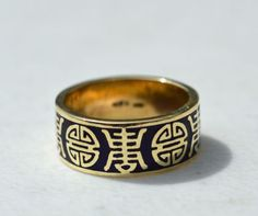 ESTATE-14K-YELLOW-GOLD-BLUE-ENAMEL-CHINESE-CHARACTER-BAND-RING-SIZE-8-585-MFA