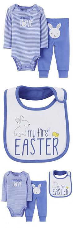Just One You by Carters Baby Boys My First Easter Bodysuit Pants Set with Bib (3 Months, Blue - Some Bunny To Love)