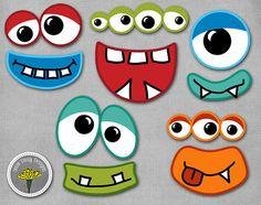 Monster Photo Props, Printable, Instant Download, Monster eyes and mouths - PERSONAL USE ONLY