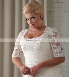 Plus Size Wedding Dresses With Half Sleeves - Best Dresses Trend