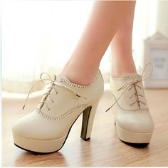 Sweet Lace-up High Heels, Lace-up High Heels for Girls, High Heels Shoes from Eoooh❣❣ - Chaussure/talons - Girls High Heel Shoes, Lace Up High Heels, Girls Heels, Platform High Heels, High Heel Boots, Shoe Boots, Ladies Shoes, Shoes For Girls, Ladies Footwear