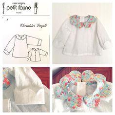 """It's done! I made """"Petal collar blouse"""" [Chemisier Lazuli] from Petit Faune's Pattern size 3mo. The collar is Liberty """"Tatum"""" 完成しました! フランスの子供服&パターン屋さんの「プチフォンヌ」の型紙で花びら襟のブラウスを3ケ月用(60cmくらい?)で作りました。襟のリバティは「テイタム」です。"""