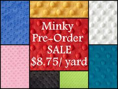 Only $8.75/ yard for minky fabric- any color!  Must order before 10/5/12