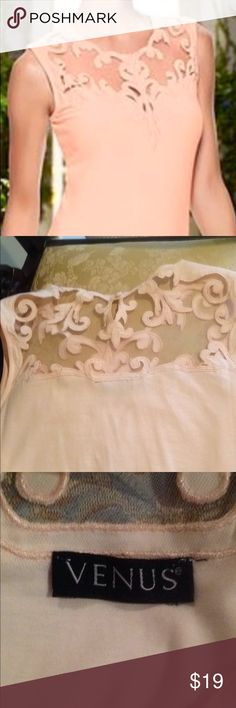 Beautiful peach Venus top Lovely Venus lace top. Feminine and peach color is so pretty. Stretchy fabric and comfortable.  Length is 24 1/2 inches from shoulder . VENUS Tops Blouses