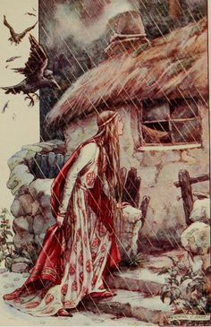 """venusmilk: """" The Gateway to Spenser - Stories from the Faërie Queen Illustrated Frank Cheyne Papé Florimell finds the cottage of the Witch in the gloomy glen. Art Magique, Photo D Art, Fairytale Art, Children's Book Illustration, Faeries, Fantasy Art, Fairy Tales, Sketches, Drawings"""