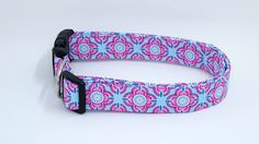 Pink and Blue Floral Medallion Dog Collar - Maltipaws - 2