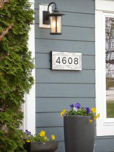 Tiled House Numbers -  Contemporary Planters - Lantern Light - Grey Siding -- White Exterior Trim