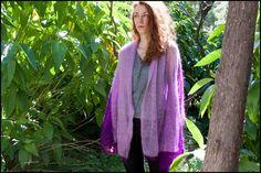 Knit Mohair Wrap Shawl. Purple Lilac Long Scarf. by InoriCreations