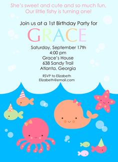 LIttle Fish (GIRL), Birthday Party Invitation, personalized and printable, 5x7. $12.50, via Etsy.
