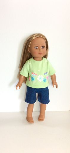 18 Inch Doll Clothes Jeans Shorts with Mint Green T-Shirt
