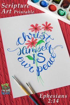 Ephesians 2:14 - Christ Himself is our peace. Christian Cards, Christian Gifts, Christian Women, Bible Verse Wall Art, Scripture Verses, Printable Art, Printables, Gospel Bible, Ephesians 2