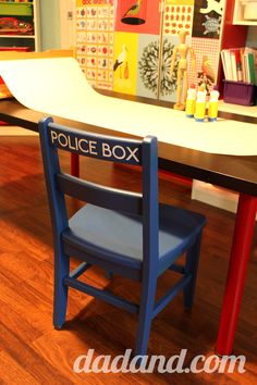 DIY Tardis Dr. Who chair for child
