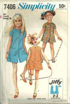 Simplicity 7406 1960s Jiffy Girls Mod Pantdress Pattern Childs Vintage Sewing Pattern by patterngate.com