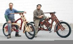 Cool wood bike idea - the link is bogus - saved it for the picture Woodworking Courses, Woodworking School, Learn Woodworking, Woodworking Techniques, Woodworking Projects Plans, Teds Woodworking, Japanese Woodworking, Wooden Bicycle, Wood Bike
