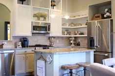 chalk painted kitchen cabinets amp cottage kitchen redo, electrical, home decor, kitchen cabinets, kitchen design, View of kitchen corner with open shelving//REMOVE CABINET DOORS ABOVE FRIDGE & MICROWAVE