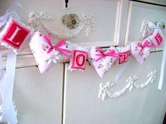 Valentine Garland / Love Banner / Pink Valentine Decoration. $16.50, via Etsy.