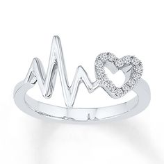 Heartbeat Ring Lab-Created Sapphires Sterling Silver