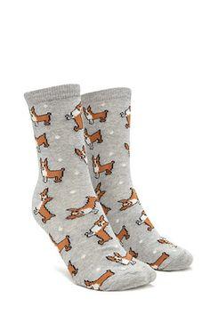 Corgi Graphic Crew Socks