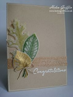 I have a card that is very simple and quick to make today. Simple, but beautiful. Vintage Wood, Vintage Stuff, Vintage Cards, Congratulations Graduate, Leaf Cards, Autumn Cards, Up Halloween, Tree Leaves, Thanksgiving Cards
