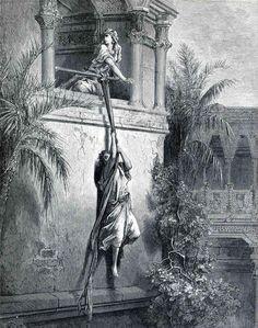 The Escape of David through the Window - Gustave Dore
