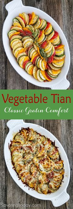 Vegetable Tian is a beautiful, classic gratin recipe. Make it for your next family supper or holiday feast for a beautiful, tasty vegetable side dish.