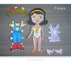 Farah Gardener (Jardinera).  She is a cute little girl and She loves plants and also animals.  She is 100% handmade, painted with non toxic paints.  Her set brings her gardener overall  and its complements,  and a beautiful pajama with slippers