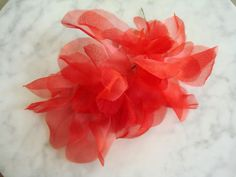 Vintage 1950s red silk organza petals flat back  wire stem millinery hat trim