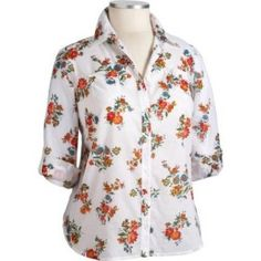 Floral blouse with mustard, poppy and olive tones