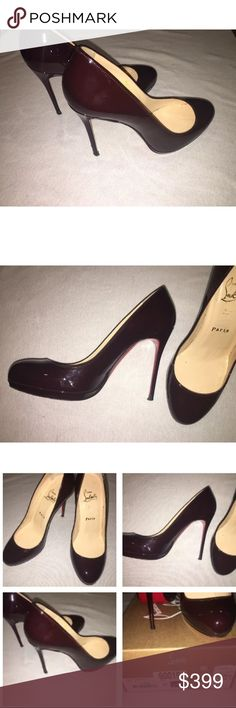Christian Louboutin FILO 120 Patent leather These come with box and bag are in great condition. The color is called Plum. Think of the almost black deep vamp red nail polish color. Beautiful. Christian Louboutin Shoes Heels