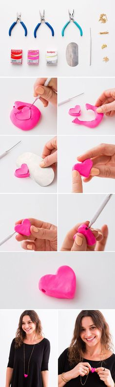 Use Sculpey clay to make this heart necklace.