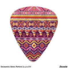 Geometric Aztec Pattern Pearl Celluloid Guitar Pick