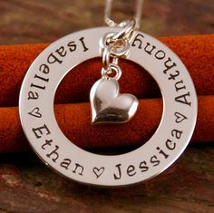 Hand Stamped Mommy Necklace - Personalized Jewelry - Sterling Silver Necklace - Family Circle of Love with heart