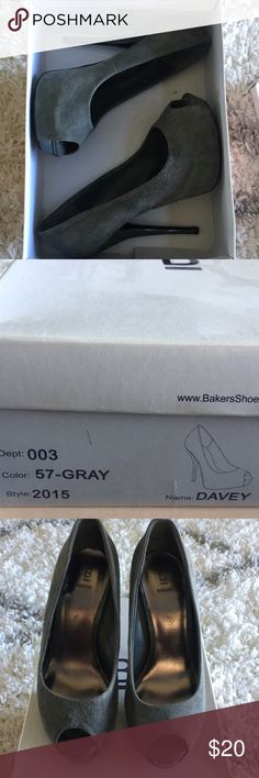 Gray fabric heels Great condition! Gray fabric heels from bakers.  Only worn 2-4 times max. Bakers Shoes Heels