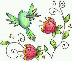 HUMMINGBIRD AND FLOWERS DOODLES.