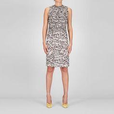Bottega Veneta Studded Trompe L'Oeil Silk Printed Dress  @@MODELNAME@@