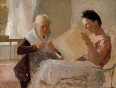 """Annie Edelfelt with Fredrika Snygg"" (n.1888) | Albert Edelfelt"