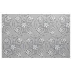 Abstract Star Style  Pattern Silver Grey Fabric - craft diy cyo cool idea