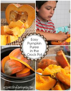 pumpkin puree in the crockpot recipe - cooking with kids! - This is perfect little activity to do with the kiddos, my kids loved it esp. the gooey parts I don't care for. LOL   What's your fave pumpkin recipe?