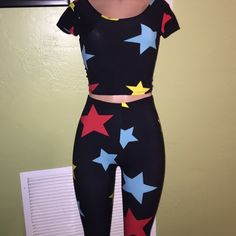 Stars Two Piece Super cute two piece leggings set with blue, red, and yellow stars Other
