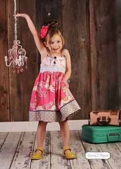 Easy No Buttonhole Knot Girls Dress PDF Sewing Pattern