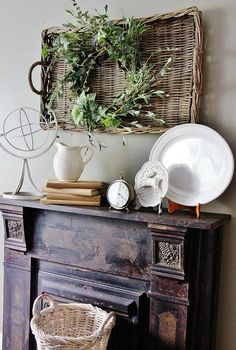 Very pretty display. fireplace decorating / rustic wreath in a basket with wood mantel / by Thistlewood Farms Farmhouse Decor, Decor, Fireplace Mantels, Thistlewood Farms, Country Decor, Wall Decor, Mantel Decorations, Home Decor, Room Decor
