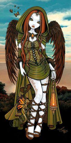 Gwyneth Medieval Dragon Lantern Angel 13 X 19 inch Art Print by Myka Jelina