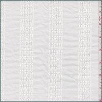 White Embroidered Stripe Linen