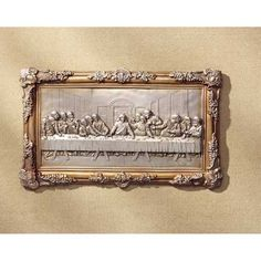 "Last Supper Bas-Relief (Item #31738)  An ornate golden frame surrounds this handsome bas-relief of Da Vinci's masterpiece.  Alabastrite. 16 1/2"" x 3/4"" x 10"" high."