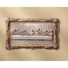 "Last Supper Bas-Relief (Item #31738)  An ornate golden frame surrounds this handsome bas-relief of Da Vinci's masterpiece.  Alabastrite. 16 1/2"" x 3/4"" x 10"" high."