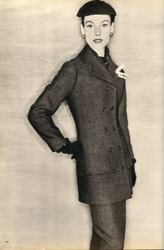 Suit by Christian Dior, British Vogue, September 1954.